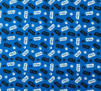 """Star Wars Logo Tossed on Blue 100% Cotton Fabric sold by FAT QUARTERS 18''x21"""""""