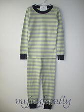 HANNA ANDERSSON Organic Long Johns Pajamas Clay Grey Lily Green Stripe 110 5 NWT