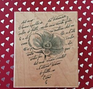 Poppy Heart Print Collage Wood Mounted Rubber Stamp Wedding Romance Anniversary