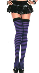 Music Legs Opaque Striped Stockings Sexy Witch Pirate Purple / Black 4741