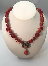 Artisian 925 Natural Branch Coral & Beaded Ladies Vintage Necklace