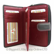 Quality Ladies Soft Leather Purse Wallet by Visconti Designer Black Red Boxed