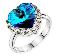 Royal Blue Heart of Ocean Rhinestone Rings size O / 7 FR23