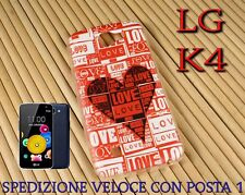 Cover custodia in gomma di silicone per Smartphone LG K4 fantasia LOVE CUORE ROS