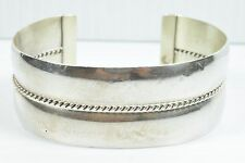 Woman's Authentic TAHE Navajo Sterling Silver Hand Twist Rope Cuff Bracelet