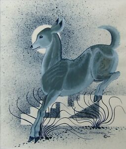 Fred Cleveland Native American Leaping Blue Deer Large Older Acrylic Painting NR