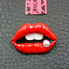 Betsey Johnson Charm Brooch Pin Gifts Lady Red Enamel Delicate Pearl Lip