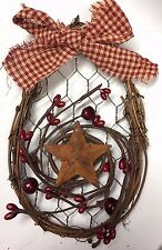 "DLCC~Pair of 6"" Grapevine ornies wire wall decor barn stars Pip Berry Primitive"