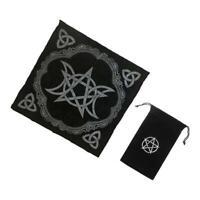 2pcs Altar Tarot Table Card Cloth Tapestry 49cm Black with Tarot Card Bag