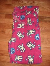 HTF Mens XL Life is Good Brick Red Pajama Pants Dog Camping Fire Marshmallow