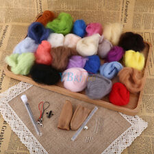 25 Colors Soft Wool Felt + Felting Needle Tool Set Mat Starter Kit DIY Craft New