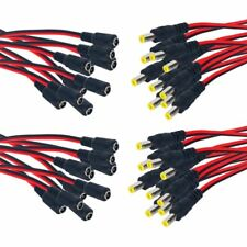 20Pair 2.1x5.5 mm Female Male Plug 12V Dc Power Pigtail for Cctv Camera Connect