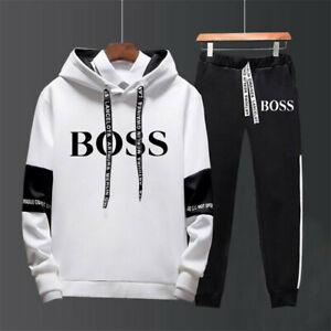 Mens Hoodie Sweatshirt+Sweatpants Sets Sportswear Pullover Jumper Gym Tracksuits