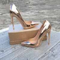 Women's Patent Leather Sexy High Heels Pointed Toe Pumps Party Stilettos Shoes