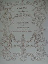 Flute, Alto and Harp Sheet Music Deux Menuets et Une Polonaise Kph. E. Bach