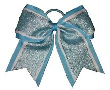 "NEW ""SHIMMER Blue"" Cheer Bow Pony Tail 3"" Ribbon Girls Hair Bows Cheerleading"