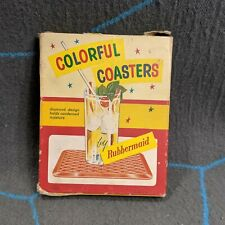Vintage Rubbermaid Set of 4 Colorful Kar-Rug Rubber Coasters