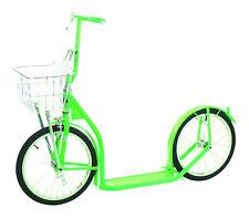 "16"" AMISH KICK SCOOTER NEON GREEN  Foot Bike w/ Basket Handbrake MADE in USA"