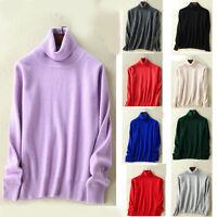 women pure collar Cashmere slim pullover sweater Turtleneck jumper knitwear coat