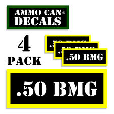 """.50 BMG Ammo Can Labels Ammunition Case 3""""x1.15"""" stickers decals 4 pack BLYW"""