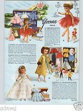 1958 PAPER AD Yvonne Dolls Sleeping Beauty Princess Grayce Madeline Bebe Tears