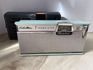 VNTG Ming blue Silvertone Medalist 2209- 7 Transistor Radio from 1961-62 & Case