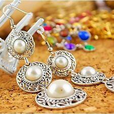 Elegante Frauen langkettige Simulierte Perle Tropfen baumeln Haken Ohrringe