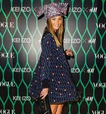 Kenzo H&m blue patterned silk dress UK size 10 EUR 36