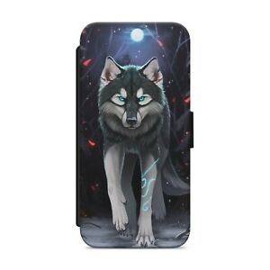 Beautiful Wolf Moon LEATHER WALLET FLIP PHONE CASE COVER                     205