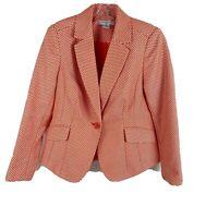 Liz Claiborne Blazer Jacket Orange White Chevron Career Lined Petite Small New
