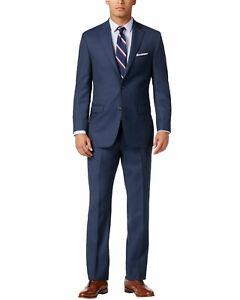 Lauren Ralph Lauren Mens Classic Fit Sharkskin Suit 38R Blue Pants 32W