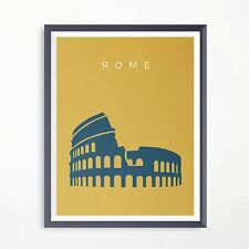 Rome Colosseum Minimalistic Travel Poster Print Artwork 7 Wonders Of The World
