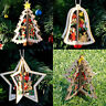 New 3D Wooden Christmas Decoration Xmas Tree Ornaments Hanging Home Party Decor