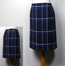 M&S Wool Blend A-LINE Mini SKIRT ~ Size 8 ~ NAVY CHECK