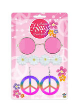 Pink Hippy Fancy Dress 4 Piece Party Costume Set 1970s 1980s Hippie Accessories