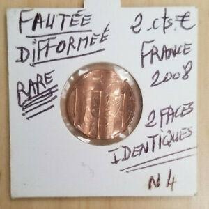 Pièce de 2 Centimes EURO FRANCE FAUTEE DOUBLE FACE ERREUR DE FRAPPE 2008
