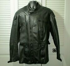 Vtg. Hein Gericke Black Leather Motorcycle Bike Elbow Padded Jacket Men's 44