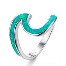 Fashion Silver plating Green Fire Opal Wave Design Ring Party Jewelry Size 8