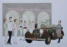 Denis-Paul NOYER : Mercedes Cabriolet T290  - Palais Méditerranée - LITHOGRAPHIE