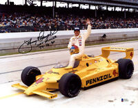 JOHNNY RUTHERFORD SIGNED 11x14 PHOTO + INDY WINNER 74 76 80 RACING BECKETT BAS