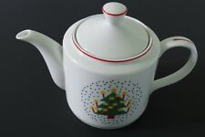 Christmas Tree Teapot White with Red Trim - Vintage Made in Japan Candles Star
