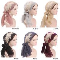 Muslim Embroider Islamic Head Wrap Scarf Arab Hijab Lady Floral Lace Headwear