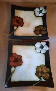 🌺 Pfaltzgraff  Painted Poppies TWO 9.5 inch Square Dinner/Serving Plates NICE!!
