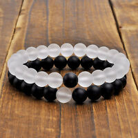 Couples His Hers Distance Bracelets Energy Beaded For Lovers Matte Onyx 2pcs