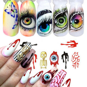 Up to 10x Nail Art Sticker Water Decals Transfer Stickers Halloween Skull Gothic