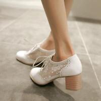 Sweat womens brogue oxfords block heel lace up Mesh court shoes Sandals Pumps SZ