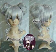 VOCALOID haku Long Cosplay Silver Wig+Ball head Wig