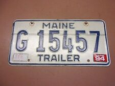 Vintage Single 1994 MAINE TRAILER LICENSE PLATE w/Tag G15457 Blue & White Flawed