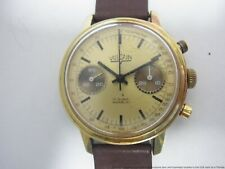 Vintage Valjoux 7733 Vulcain Gold Chronograph Running Strong 1960s Mens Watch