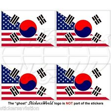 USA United States America-SOUTH KOREA American-S.Korean Flag 50mm Stickers x4